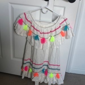 Off the shoulder colorful dress with tassels